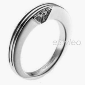 Emporio Armani Ring Band Sterling Silver Unisex